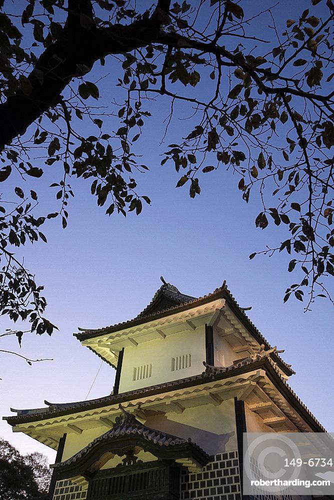 An entrance gate to the grounds of Kanazawa castle at dusk, Kanazawa, Ishigawa, Japan, Asia