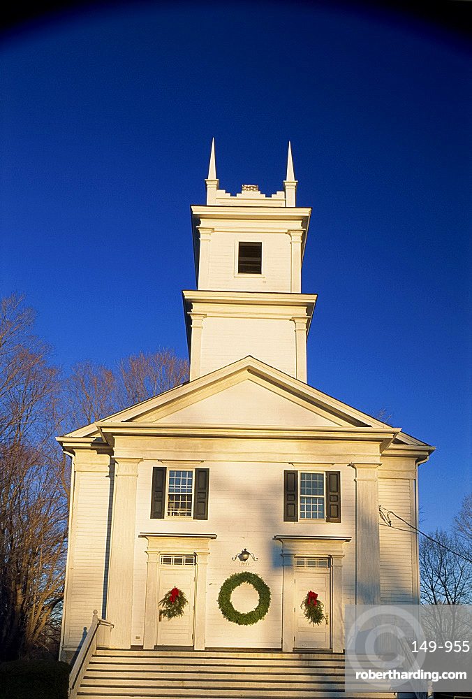 Colonial church with tower, in Redding, Connecticut, New England, United States of America, North America
