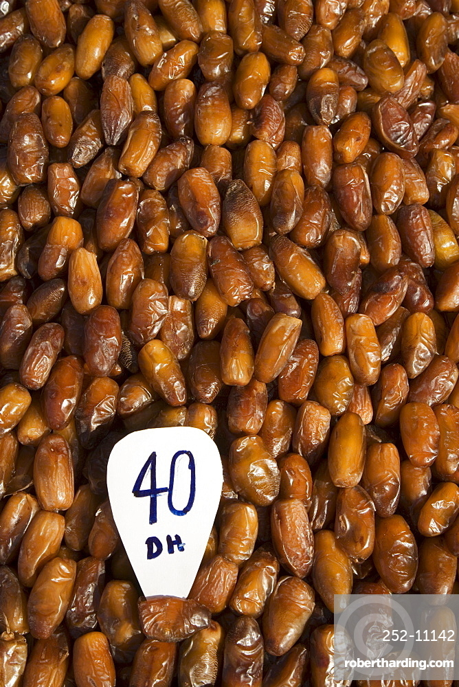 Dates for sale in the Souq, Marrakesh, Morocco, North Africa, Africa