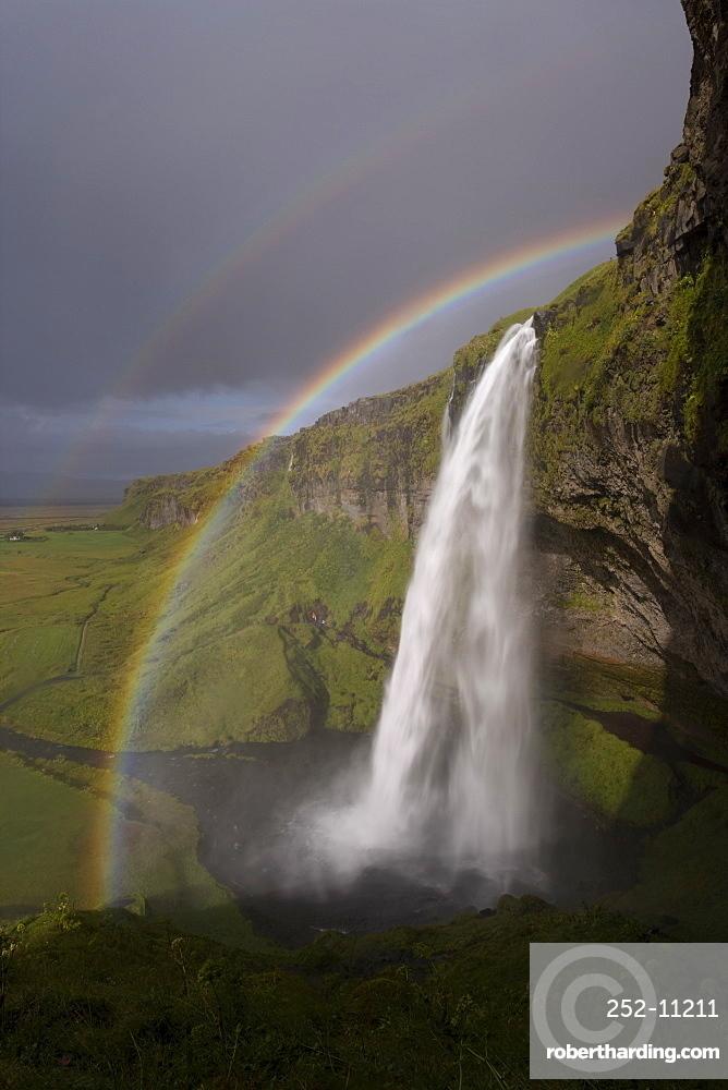 Seljalandsfoss waterfall, Seljalandsfoss, southern area, Iceland, Polar Regions