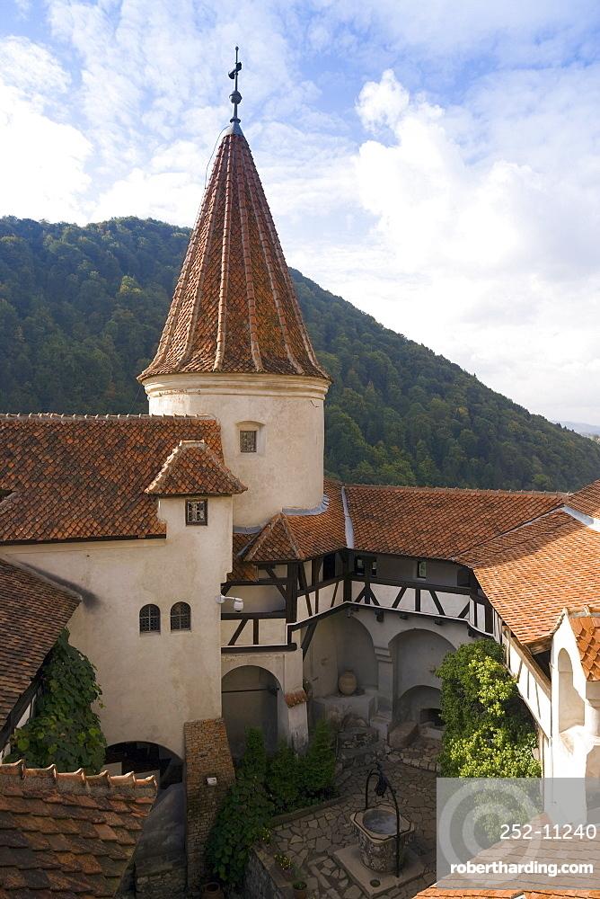 Detail of courtyard and turret, Bran Castle (Dracula's Castle), Bran, Prahova Valley, Saxon Land, Transylvania, Romania, Europe