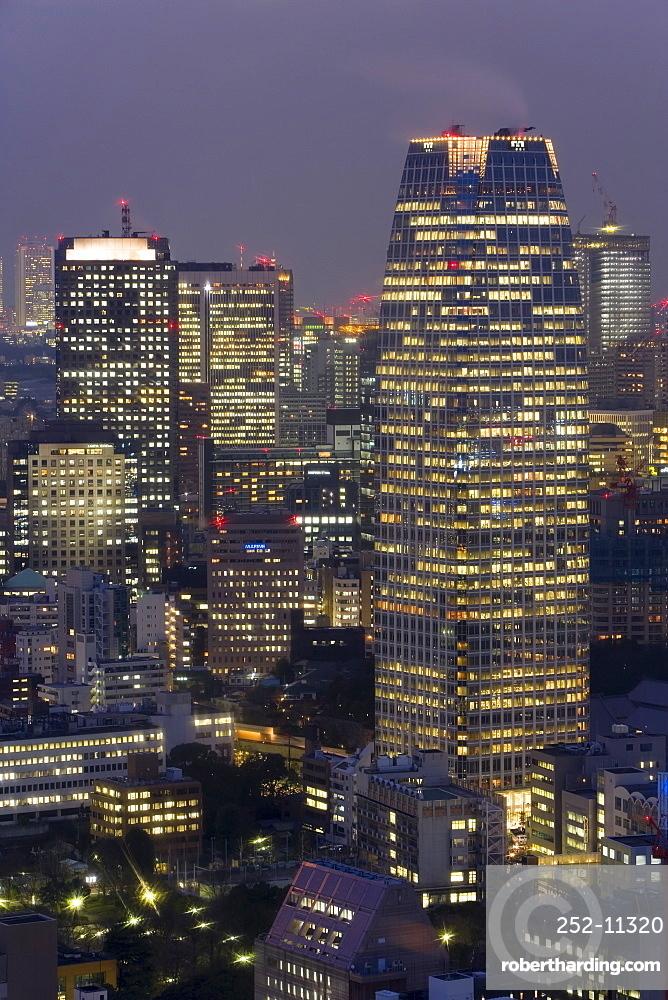 Central Tokyo skyscrapers illuminated at night, Tokyo, Honshu, Japan, Asia