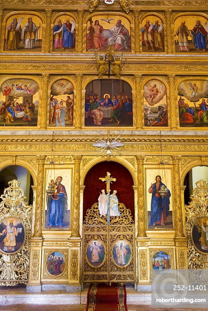 Praskvica Monastery, interior of the Serbian Orthodox Monastery, Pastrovici Hills near Sveti Stefan, Montenegro, Balkans, Europe