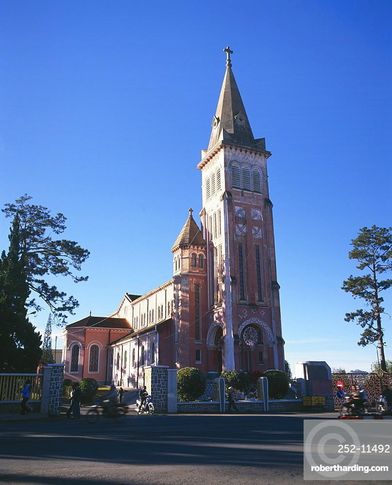Dalat Christian cathedral, Dalat, Central Highlands, Vietnam, Indochina, Southeast Asia, Asia