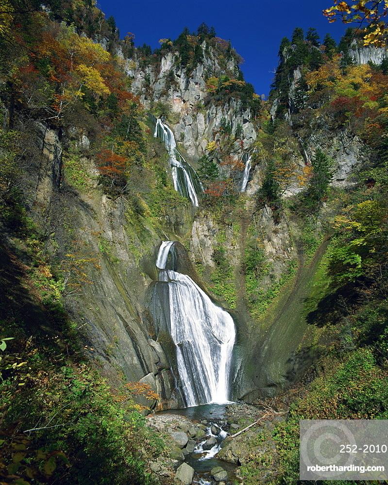 The Hagoromo waterfall at Tenninkyo on Hokkaido, Japan, Asia