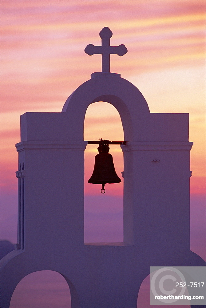 Close-up of bell tower on Greek Orthodox church on Santorini, Cyclades, Greece *** Local Caption ***