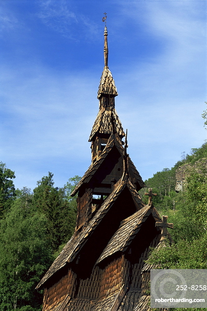The best preserved 12th century stave church in Norway, Borgund, Western Fjords, Norway, Scandinavia, Europe