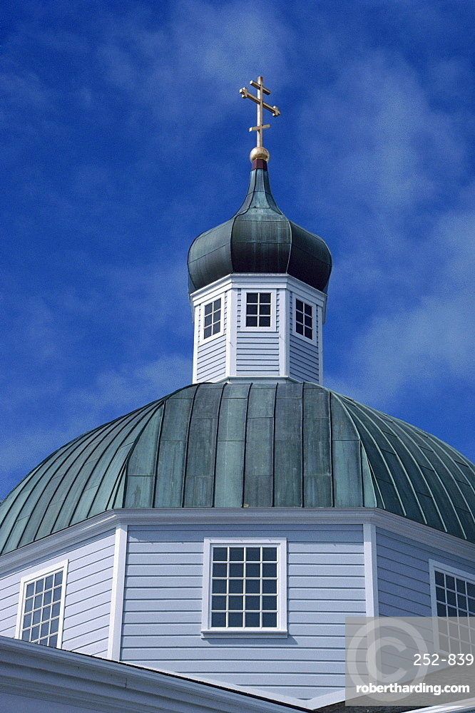 Close-up of dome and roof of church in Sitka, Alaska, United States of America, North America