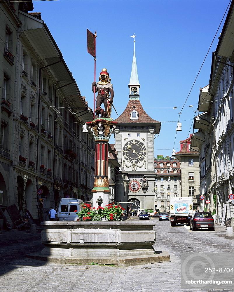 Kramgasse and the Zeitglockenturm, Bern, Bernese Mittelland, Switzerland, Europe