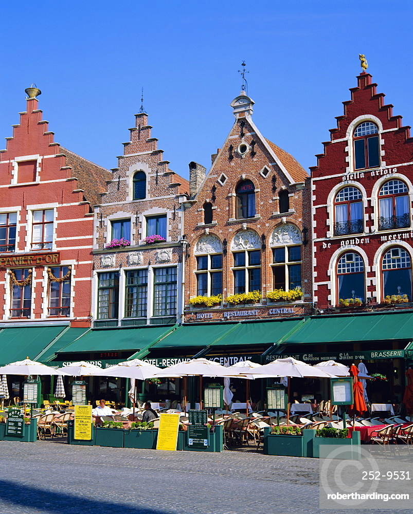 Cafes in the main town square, Bruges, Belgium
