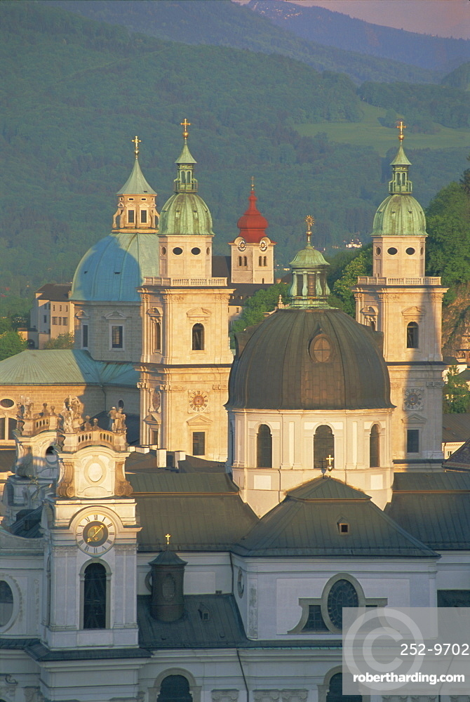 Elevated view of Kollegienkirche and cathedral domes, Salzburg, UNESCO World Heritage Site, Austria, Europe