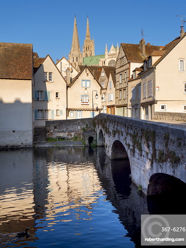 Cathedral across river Eure, Chartres, France