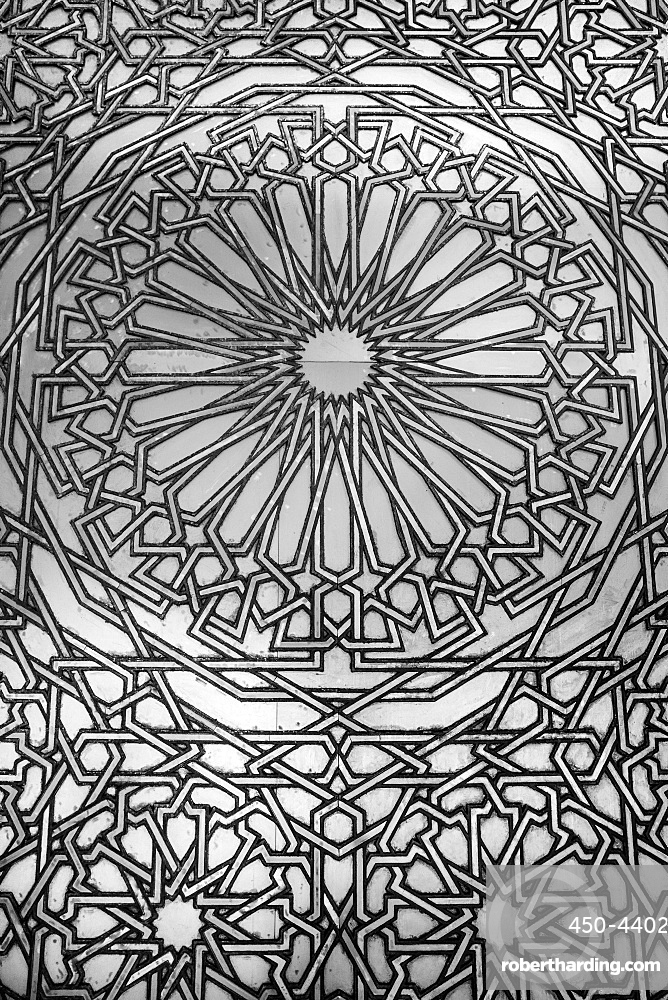 Detail of Royal Door of Hassan II Mosque, decorated with traditional motifs engraved on brass and titanium, Casablanca, Morocco, North Africa, Africa