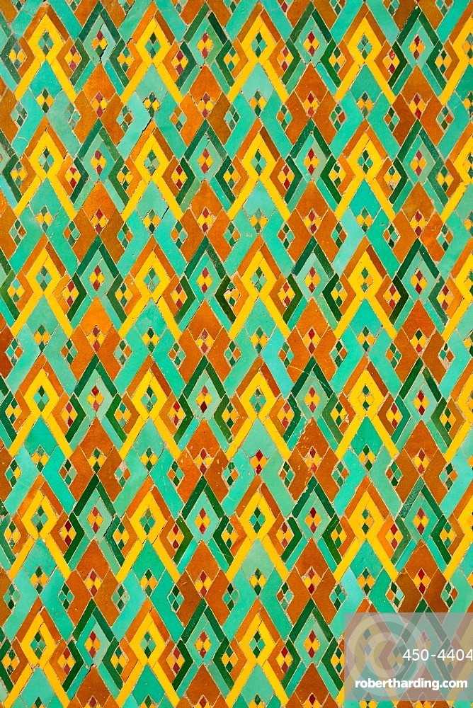 Detail of traditional brightly coloured Moroccan zellij tiling in the lobby area of Hassan II Mosque, Casablanca, Morocco, North Africa, Africa