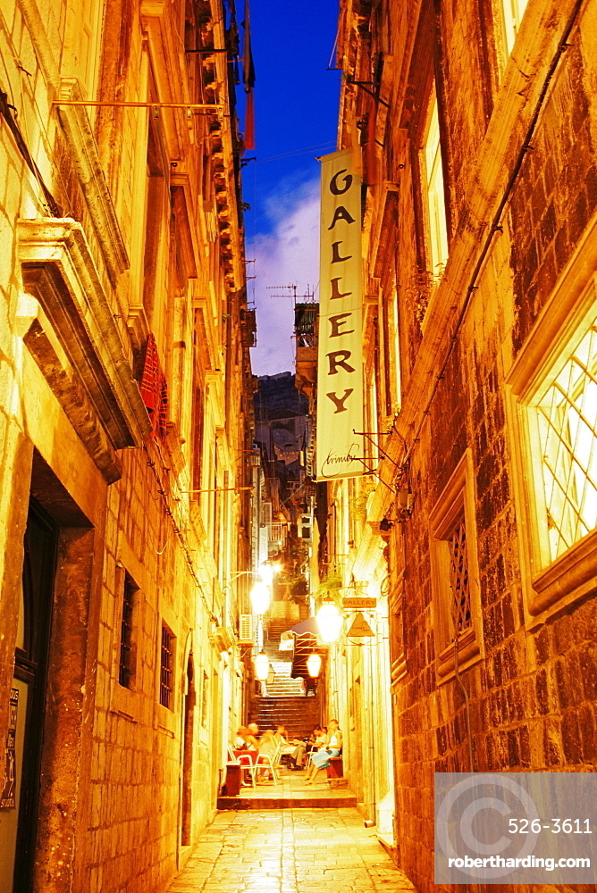 Narrow street at dusk, Dubrovnik, Dalmatia, Croatia, Europe
