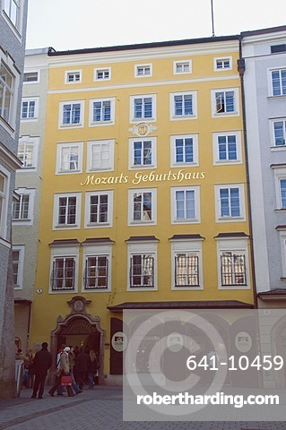 Mozart's Berthplace and now a museum in Getreidegasse, Salzburg, Austria