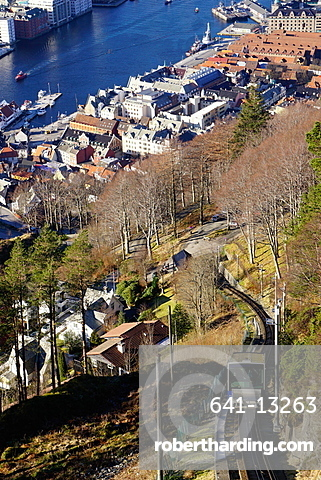 Floibanen funicular railway with view of Bergen from Mount Floyen, Bergen, Hordaland, Norway, Scandinavia, Europe