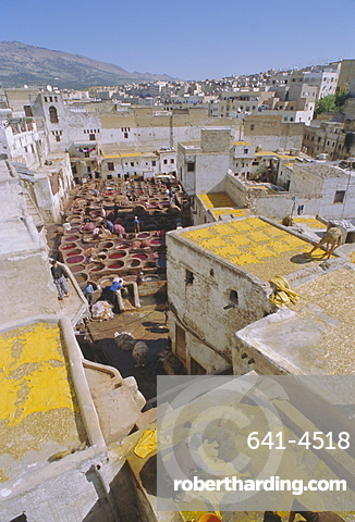 The tanneries, Fez (Fes), Morocco, North Africa, Africa
