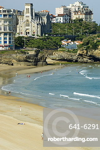 The beach at Biarritz, Cote Basque, Basque country, Pyrenees-Atlantiques, Aquitaine, France, Europe
