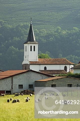 Church in countryside near Saint Jean Pied de Port (St.-Jean-Pied-de-Port),  Basque country, Pyrenees-Atlantiques, Aquitaine, France, Europe