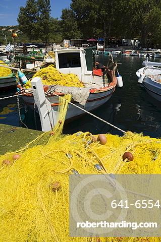 Fishing boats, Poli Bay, Ithaka, Greece, Europe