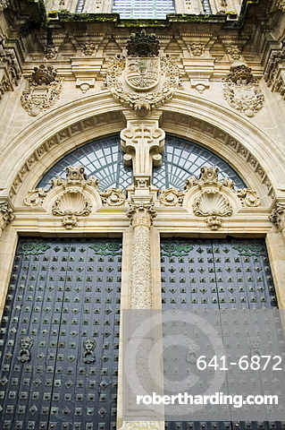 Doors on the front of Santiago Cathedral, UNESCO World Heritage Site, Santiago de Compostela, Galicia, Spain, Europe