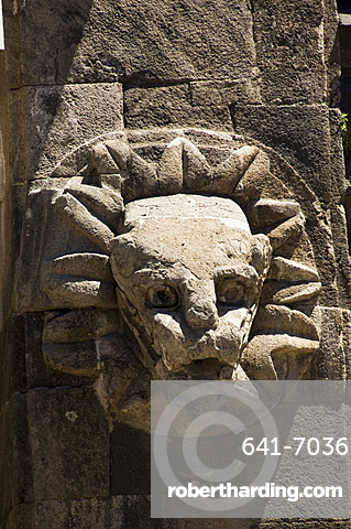 Gargoyles on the Temple of Quetzalcoati, Teotihuacan, UNESCO World Heritage Site, north of Mexico City, Mexico, North America