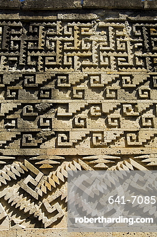 Fantastic geometric carving, Palace of the Columns, Mitla, an ancient Mixtec site, Oaxaca, Mexico, North America