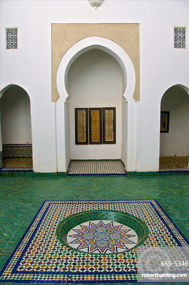 Patio and water basin, with azulejos decor, Islamo-Andalucian art, Marrakech Museum, Marrakech, Morocco, North Africa, Africa