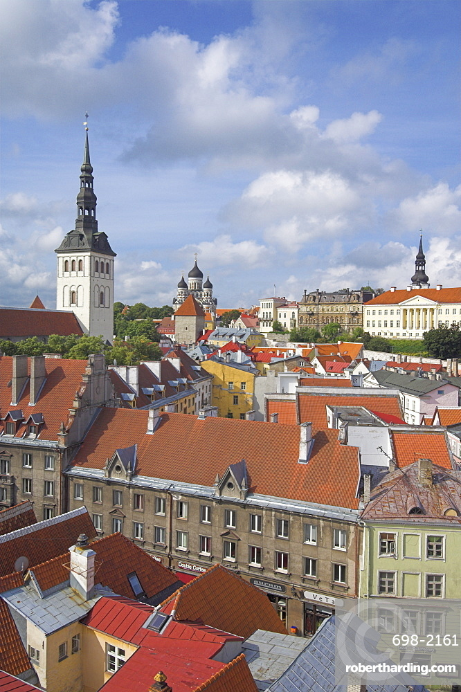 Niguliste church spire, old town roofs and domes of the Alexander Nevsky Cathedral, Russian Orthodox church, Toompea Hill, Tallinn, UNESCO World Heritage Site, Estonia, Baltic States, Europe