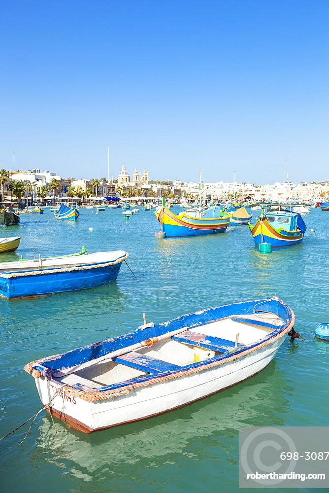 Marsaxlokk Harbour and traditional fishing boats, Marsaxlokk, Malta, Mediterranean, Europe
