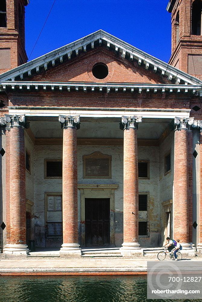 Italy, Emilia Romagna, River Po Delta, Comarchio, The Classical Style Church Buits In Bricks