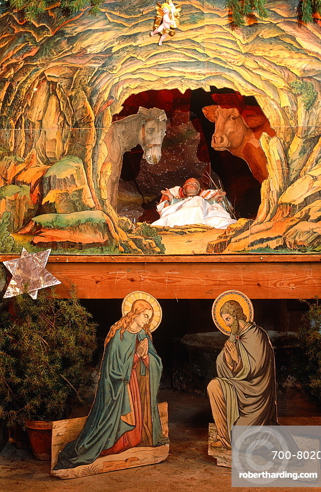 France, Provence, Alpes Maritimes 06, Saorge Church, Baroque Christ Child's Crib