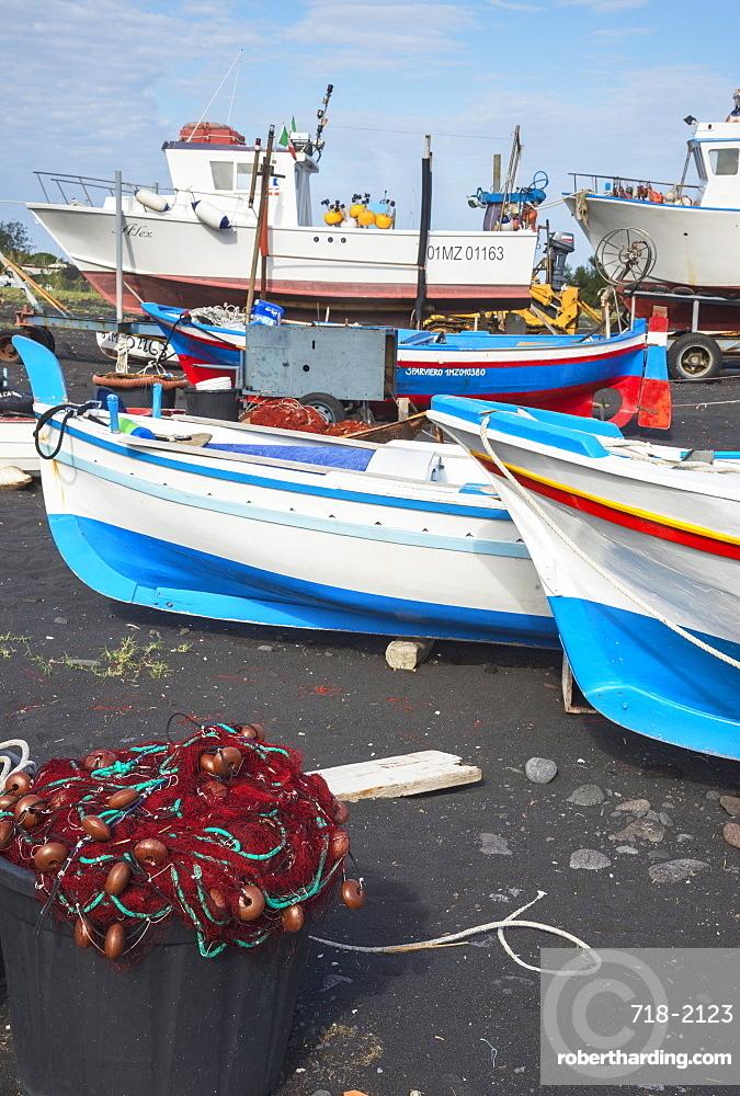 Fishing boats, Stromboli, Aeolian Islands, UNESCO World Heritage Site, Sicily, Italy, Mediterranean, Europe