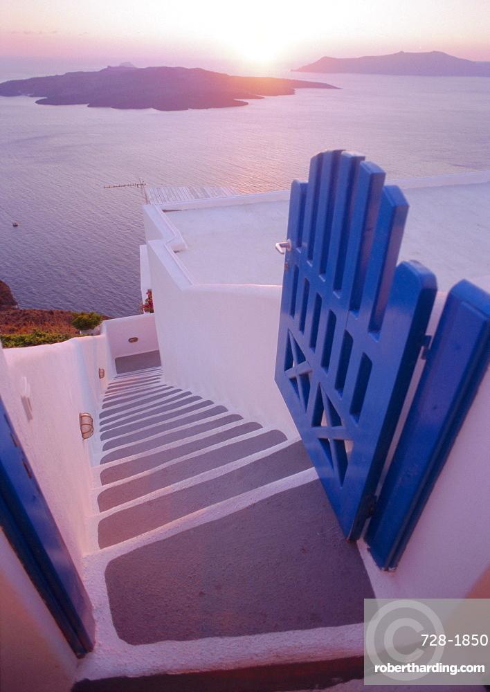 Gate and steps, Thira (Fira), Santorini, Cyclades Islands, Greece, Europe