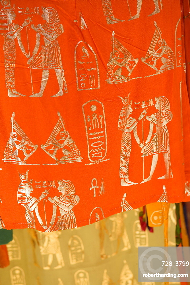 Coloured materials with ancient Egyptian motifs, Cairo, Egypt, North Africa, Africa