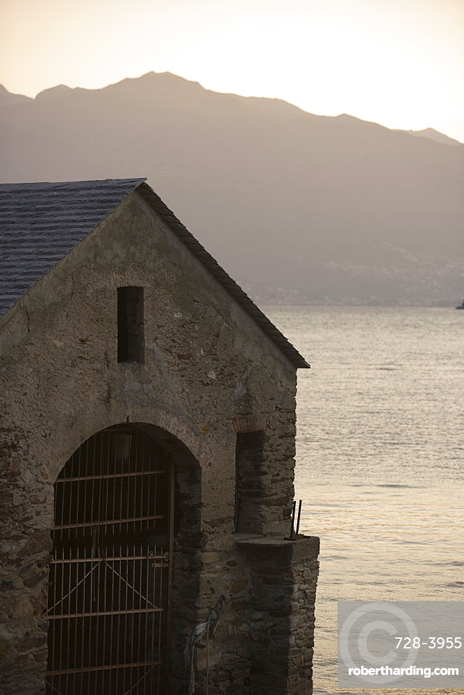 Boat house, Lake Maggiore, Italian Lakes, Italy, Europe