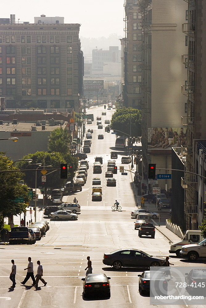 Traffic on 4th Street, Downtown, Los Angeles, California, United States of America, North America