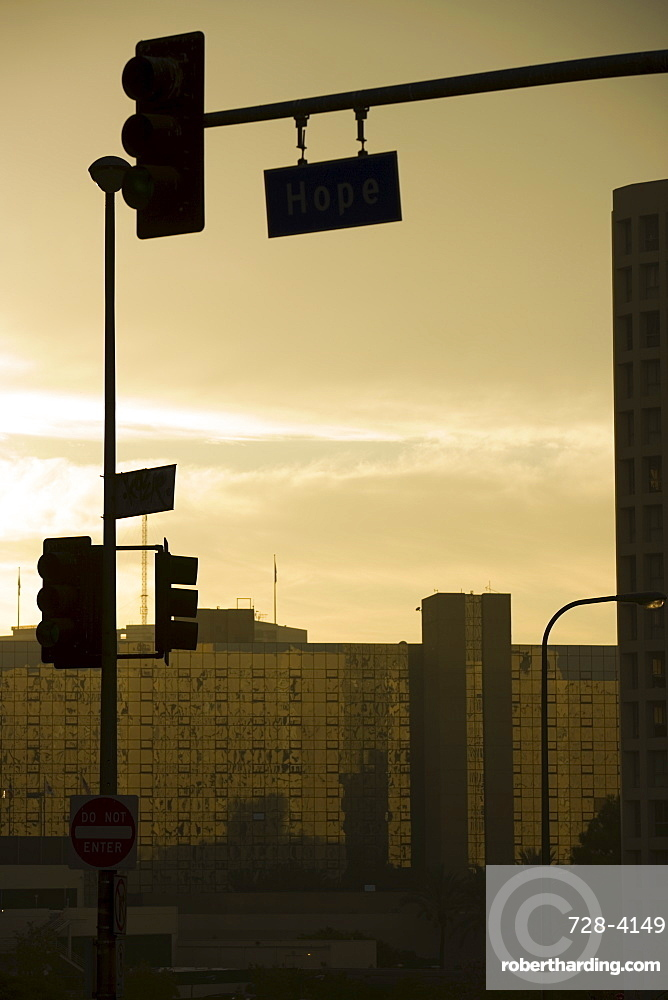 Traffic lights, Downtown, Los Angeles, California, United States of America, North America
