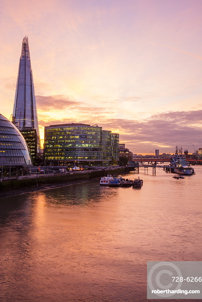 The Shard Building and River Thames, London, England, United Kingdom, Europe