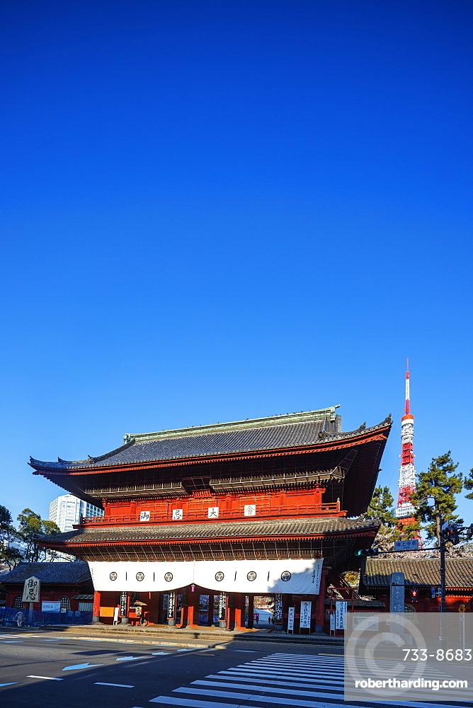 Tokyo Tower and Zojoji Temple, Roppongi, Tokyo, Japan, Asia