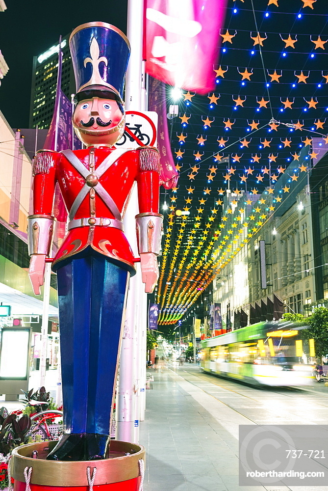Christmas decorations and Nutcracker at Bourke Street Mall, City of Melbourne, Victoria, Australia, Pacific