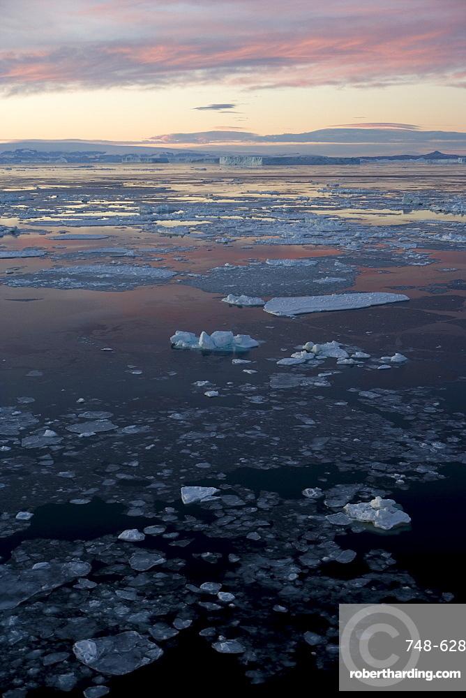 Pack ice and iceberg, Antarctic Peninsula, Weddell Sea, Antarctica, Polar Regions