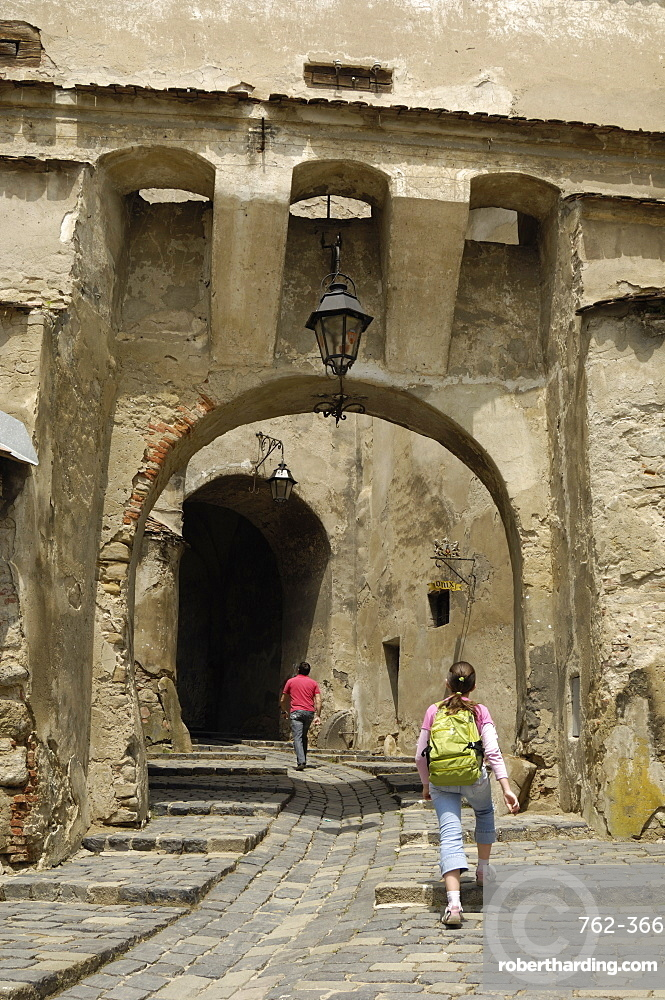 Gateway through the Clock Tower, Sighisoara, Transylvania, Romania, Europe