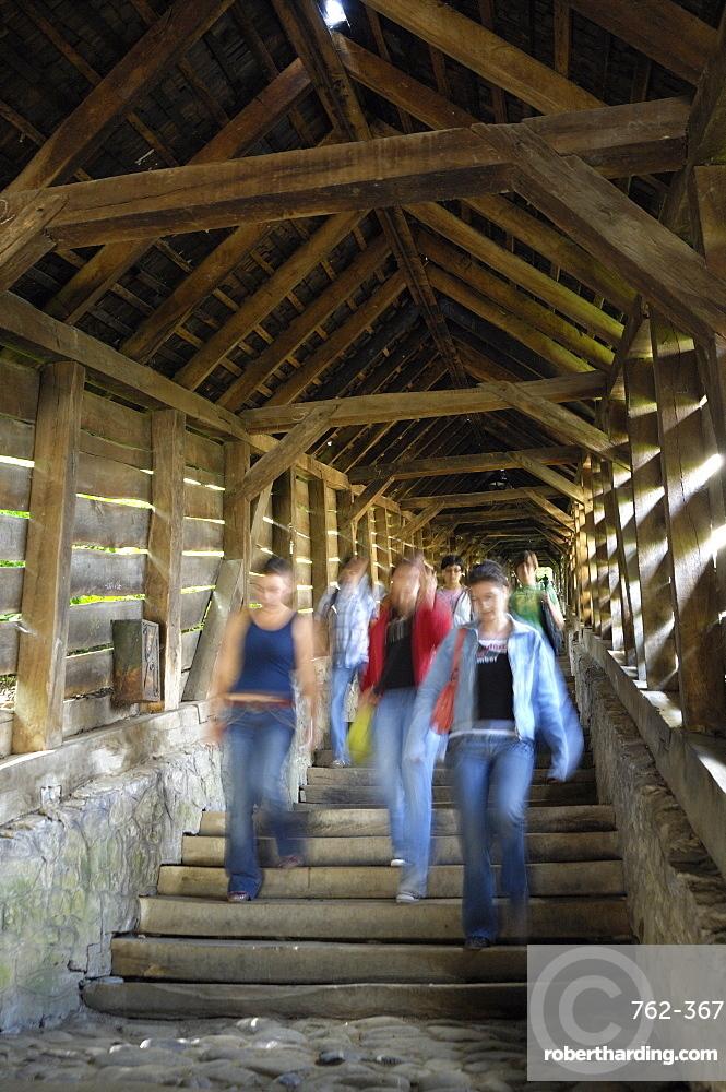 Covered stairway, Scholars Stairs, Sighisoara, Transylvania, Romania, Europe
