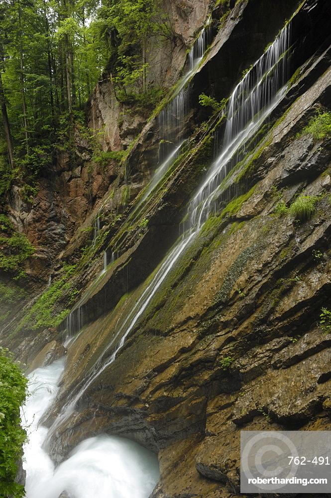 Swirling glacial water carves through Wimbachklamm gorge, near Ramsau, Berchtesgaden National Park, Bavaria, Germany, Europe