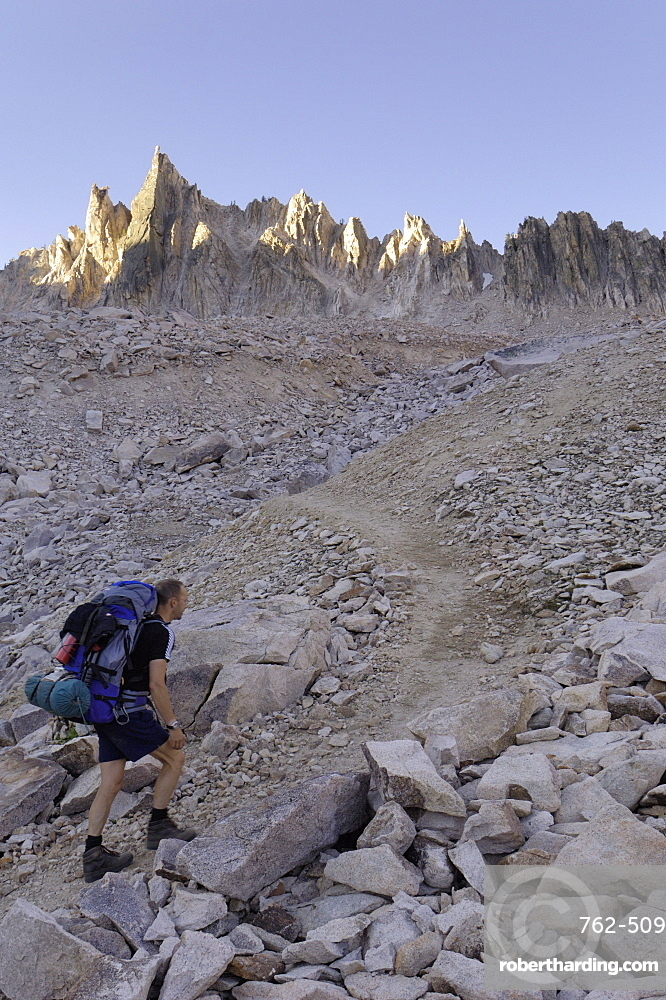 Hiking through lunar landscape up to Cramer Divide, Sawtooth Mountains, Sawtooth Wilderness, Sawtooth National Recreation Area, Rocky Mountains, Idaho, United States of America, North America