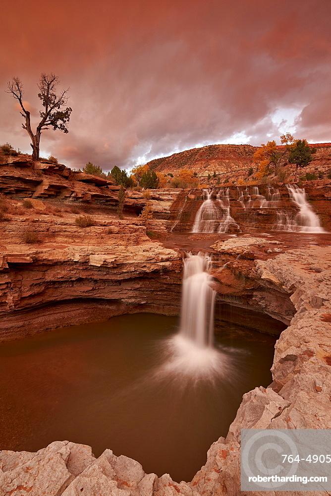 Secret Falls at sunset, Washington County, Utah, United States of America, North America