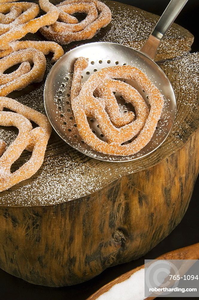 Cattas sweet fritters, Sardinian Carnival cakes, Sardinia, Italy, Europe