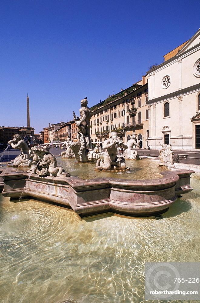 Moro fountain, Navona Square, Rome, Lazio, Italy, Europe